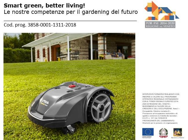 STIGA Autoclip robot mower on green lawn with house on the background